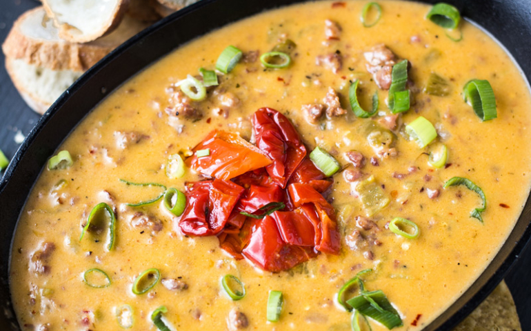 Smoked Sausage and Hatch Chile Beer Cheese Dip