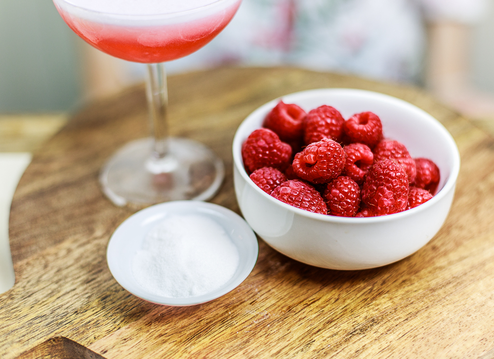 Fresh Raspberries in the Clover Club Cocktail by Standard Spoon