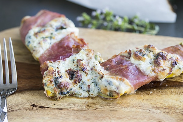 Cheesy Stuffed Zucchini Boats Wrapped in Prosciutto