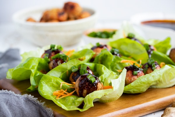 Asian Meatballs in Lettuce Wraps with Gyoza Sauce