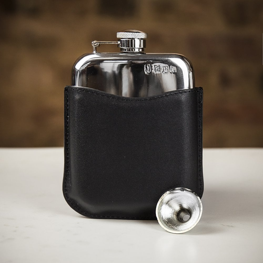 English Pewter Company flask with black leather sleeve